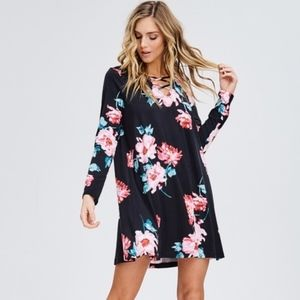 Floral Cross Front Dress Sizes S, M and L